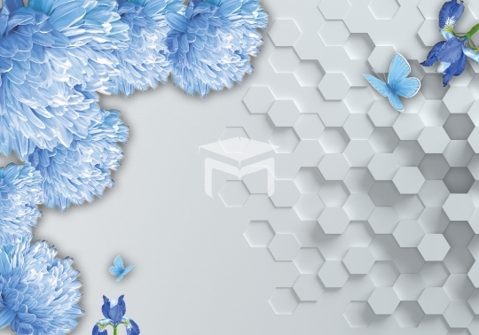 3D off white hexagon brick flower and Colorful butterflies